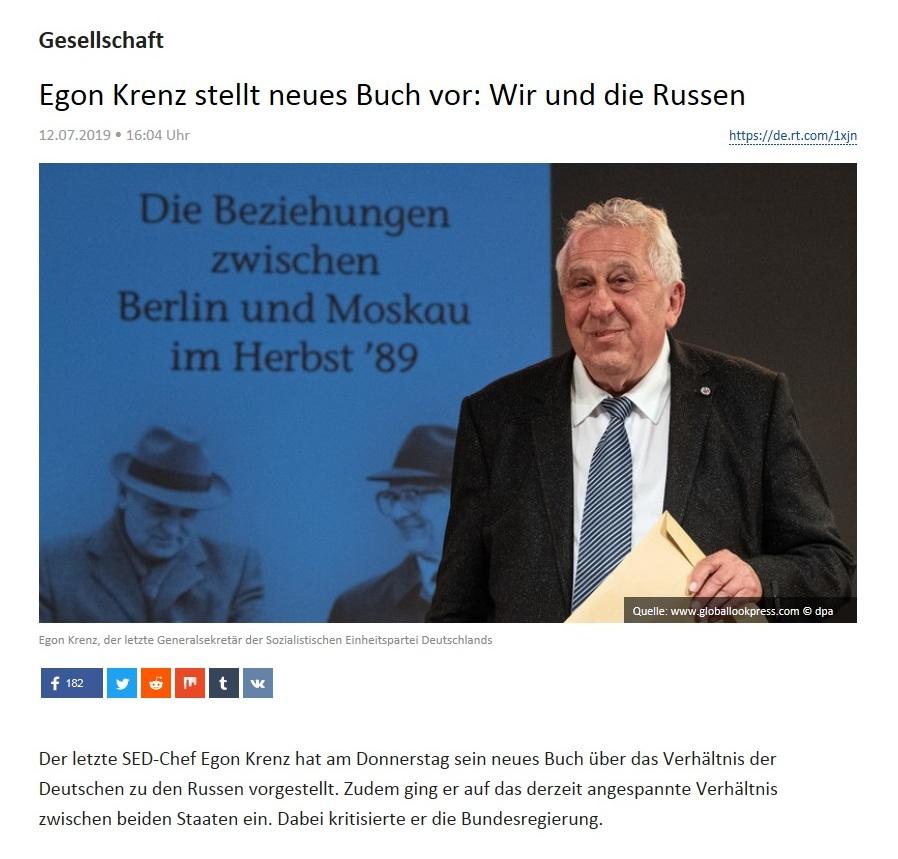 Gesellschaft - Egon Krenz stellt neues Buch vor: Wir und die Russen