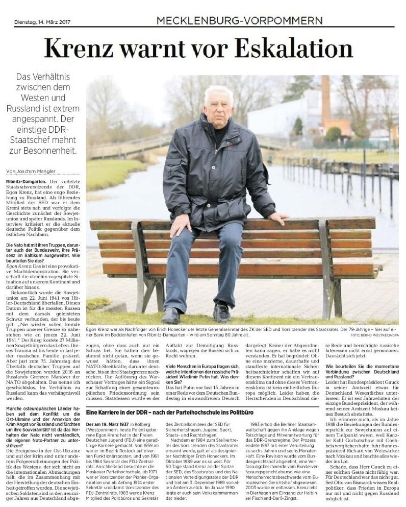 Egon Krenz warnt vor Eskalation der Lage gegenüber Russland - Beitrag erschien am 14.03.2017 in der Ostsee-Zeitung