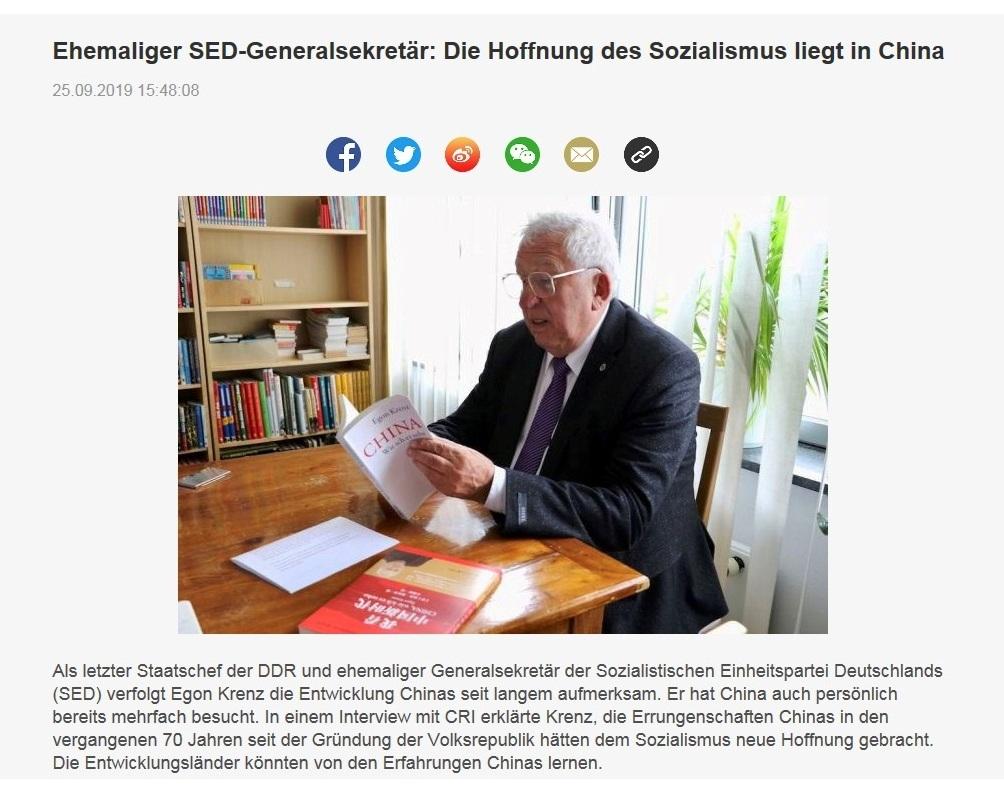 Ehemaliger SED-Generalsekretär: Die Hoffnung des Sozialismus liegt in China - CRI online Deutsch - 25.09.2019