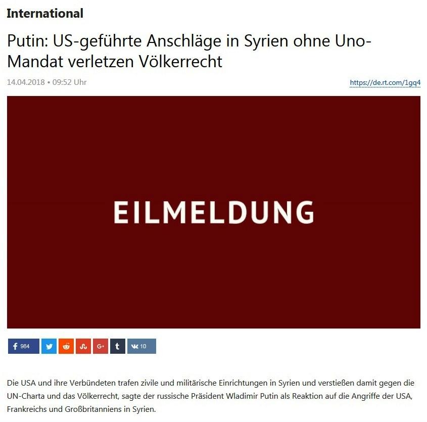 russische reaktion syrien