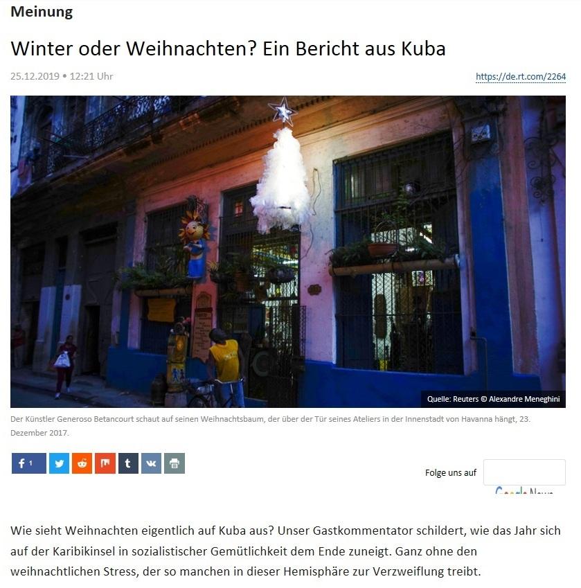 Meinung - Winter oder Weihnachten? Ein Bericht aus Kuba