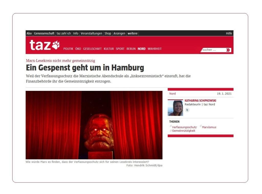 Ein Gespenst geht um in Hamburg - Marx-Lesekreis nicht mehr gemeinnützig - taz Nord - Redakteurin Katharina Schipkowski - 19.1.2021 - Aus dem Posteingang von Dr. Marianne Linke - Artikel aus der taz von Hamburger Freunden