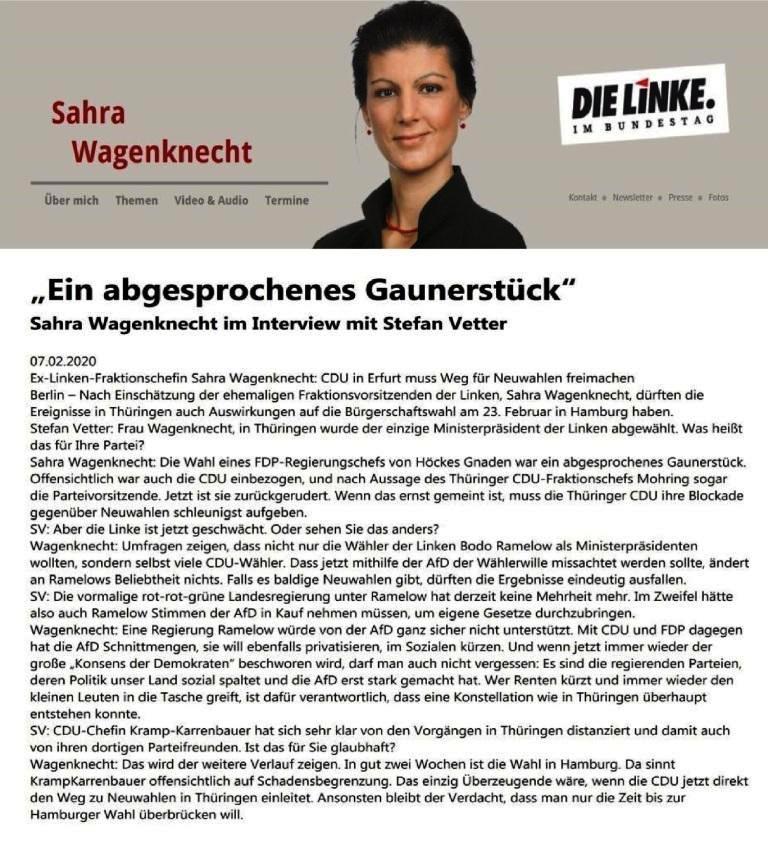 'Ein abgesprochenes Gaunerstück' - Sahra Wagenknecht im Interview mit Stefan Vetter