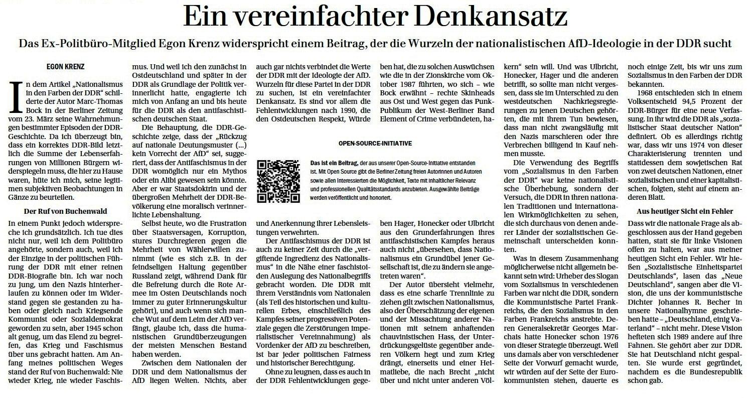 Ein vereinfachter Denkansatz - ein Beitrag von Egon Krenz in der Berliner Zeitung vom 06.04.2021 - Aus dem Posteingang von Egon Krenz vom 06.04.2021 - Berliner Zeitung vom 06.04.2021 - PDF