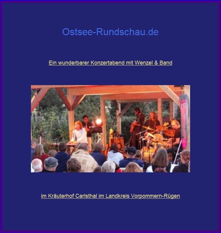 Ein wunderbarer Konzertabend mit Wenzel & Band am 22. August 2015 im Kräuterhof Carlsthal im Landkreis Vorpommern-Rügen. Hans-Eckardt Wenzel, Jahrgang 1955, in Kropstädt bei Wittenberg geboren, ist ein äußerst vielseitiger Künstler, der bereits seit 1976 auf der Bühne steht und dabei sehr erfolgreich ist. Foto: Eckart Kreitlow