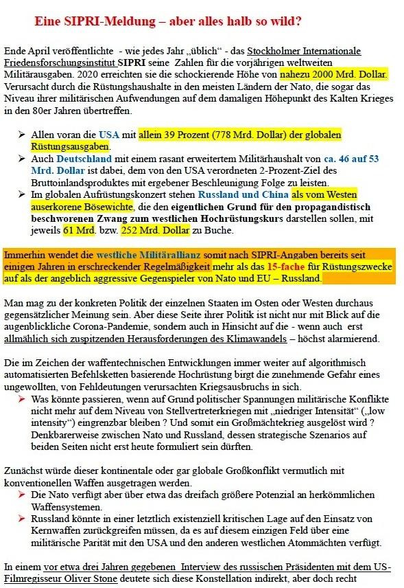 Prof. Dr. Gregor Putensen - Eine SIPRI-Meldung - aber alles halb so wild? - Aus dem Posteingang von Siegfried Dienel vom 04.05.2021
