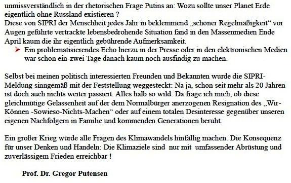 Prof. Dr. Gregor Putensen - Eine SIPRI-Meldung - aber alles halb so wild?- Aus dem Posteingang von Siegfried Dienel vom 04.05.2021