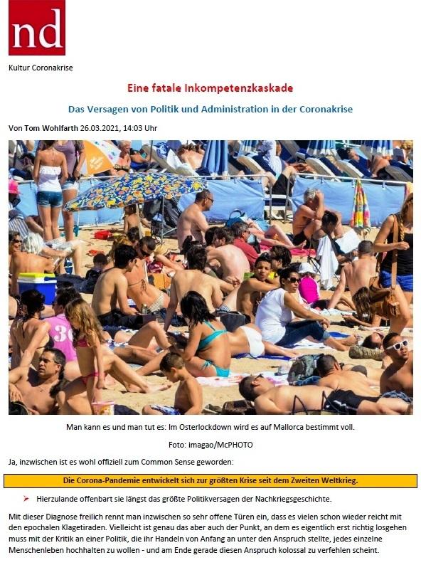 Eine fatale Inkompetenzkaskade - Das Versagen von Politik und Administration in der Corona-Krise - Von Tom Wohlfahrt - ND - 26.03.2021, 14:03 Uhr - Wochenendausgabe vom 27.03./ 28.03. 2021 - Abschnitt 1