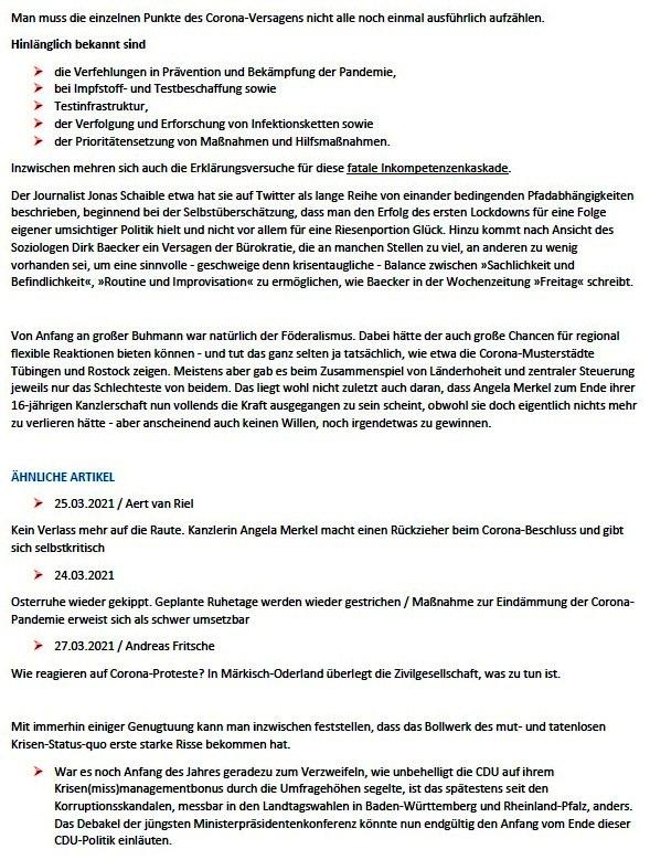 Eine fatale Inkompetenzkaskade - Das Versagen von Politik und Administration in der Corona-Krise - Von Tom Wohlfahrt - ND - 26.03.2021, 14:03 Uhr - Wochenendausgabe vom 27.03./ 28.03. 2021 - Abschnitt 2
