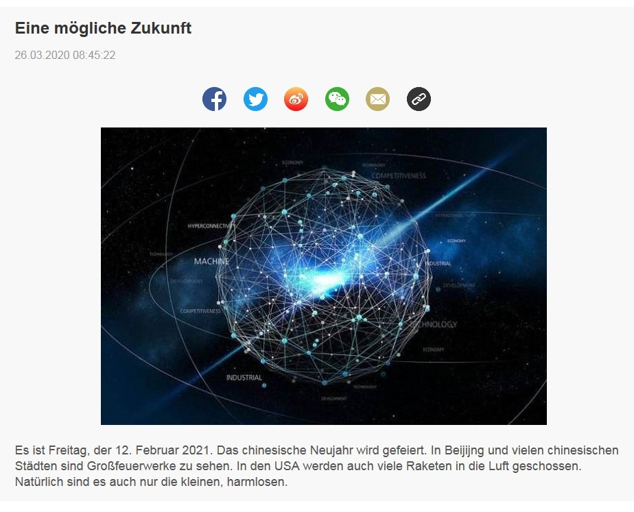 Eine mögliche Zukunft - China Radio International - CRI online Deutsch -  26.03.2020