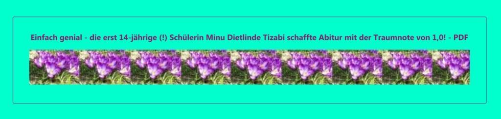 Einfach genial - die erst 14-jährige (!) Schülerin Minu Dietlinde Tizabi schaffte das Abitur mit der Traumnote 1,0