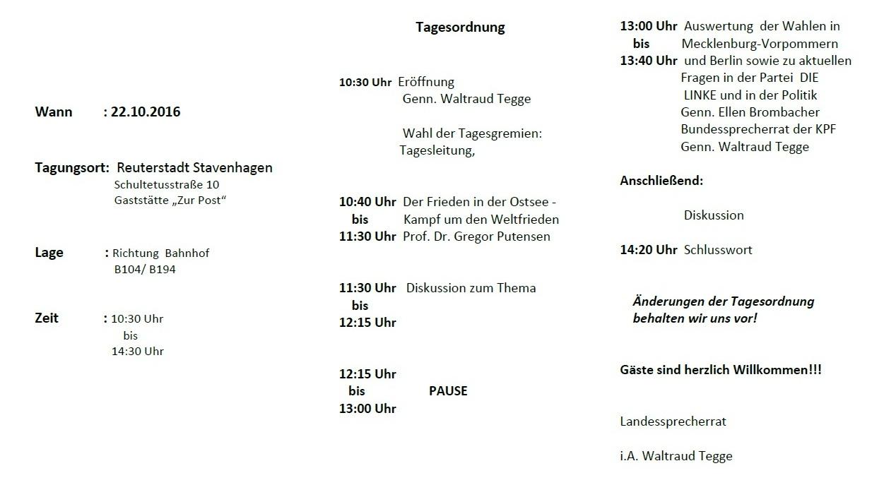 KPF-Konferenz zum Thema Frieden in der Ostsee - Kampf um den Weltfrieden am 22. Oktober 2016 in der Reuterstadt Stavenhagen.></a>  <br> <br> <br> <br> <br> <br> <br> <br> <br> <br> <br> <br> <br></td>         </tr>     </table><br> <br> <br> <br> <br> <br></td>         </tr>     </table><br><p align=