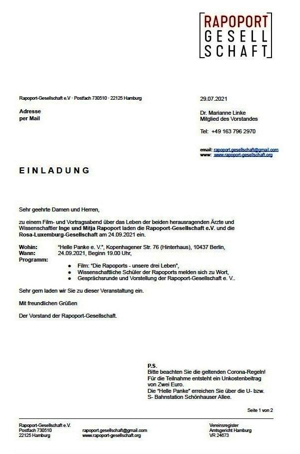 EINLADUNG der Rapoport-Gesellschaft e. V. - Wo: 'Helle Panke e. V.', Kopenhagener Str. 76 (Hinterhaus), 10437 Berlin, Wann: 24.09.2021, Beginn 19.00 Uhr