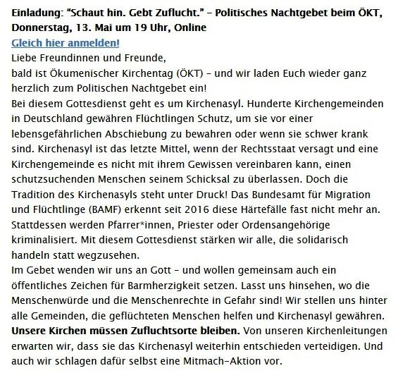 Einladung: 'Schaut hin. Gebt Zuflucht.' – Politisches Nachtgebet beim ÖKT, Donnerstag, 13. Mai um 19 Uhr, Online - Aus dem Posteingang vom 05.05.2021 von Dr. Marianne Linke - Abschnitt 2
