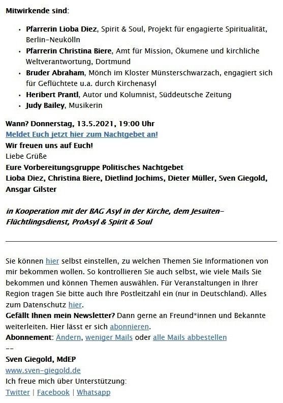 Einladung: 'Schaut hin. Gebt Zuflucht.' – Politisches Nachtgebet beim ÖKT, Donnerstag, 13. Mai um 19 Uhr, Online - Aus dem Posteingang vom 05.05.2021 von Dr. Marianne Linke - Abschnitt 3