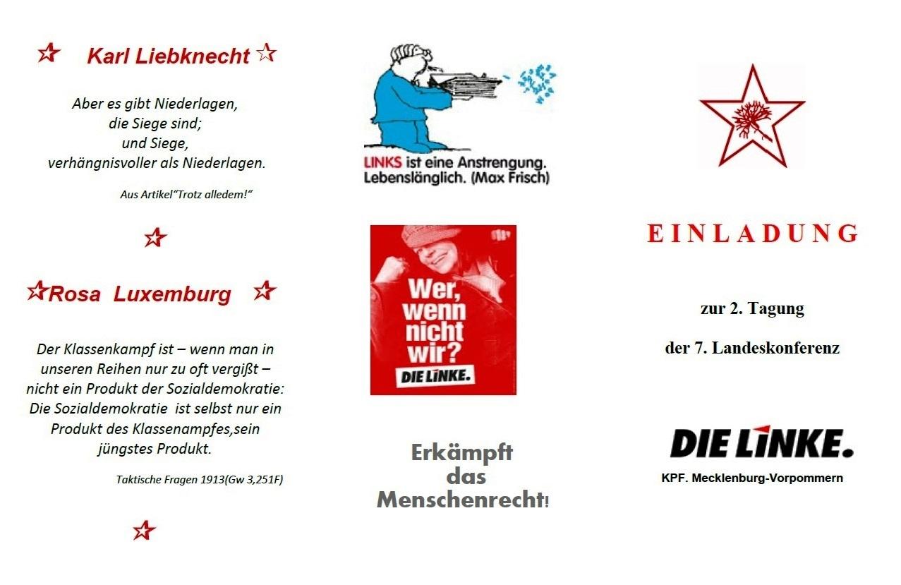 EINLADUNG zur Landeskonferenz der KPF.MV bei der Partei DIE LINKE.MV am 09.10.2021 in Rostock - Aus dem Posteingang von Waltraud Tegge, Landessprecherin KPF.MV vom 9. September 2021