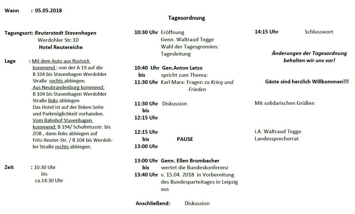 Aus dem Posteingang - Einladung zur 1. Tagung der 6. Landeskonferenz DIE LINKE KPF. Mecklenburg-Vorpommern am 5. Mai 2018 10.30 Uhr bis ca. 14.30 Uhr in Reuterstadt Stavenhagen - Seite 2