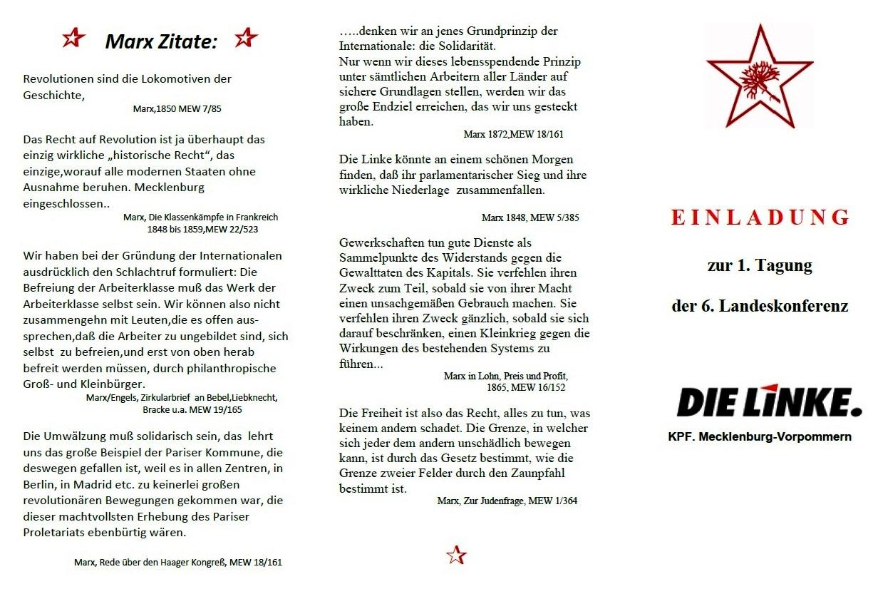 Aus dem Posteingang - Einladung zur 1. Tagung der 6. Landeskonferenz DIE LINKE KPF. Mecklenburg-Vorpommern am 5. Mai 2018 10.30 Uhr bis ca. 14.30 Uhr in Reuterstadt Stavenhagen - Seite 1