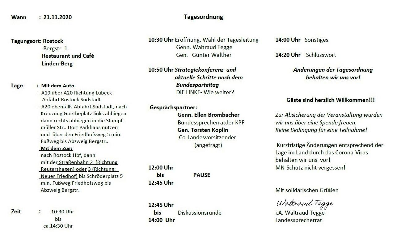 Aus dem Posteingang vom 08.10.2020 von Waltraud Tegge - Einladung zur 7. Landeskonferenz der KPF.MV