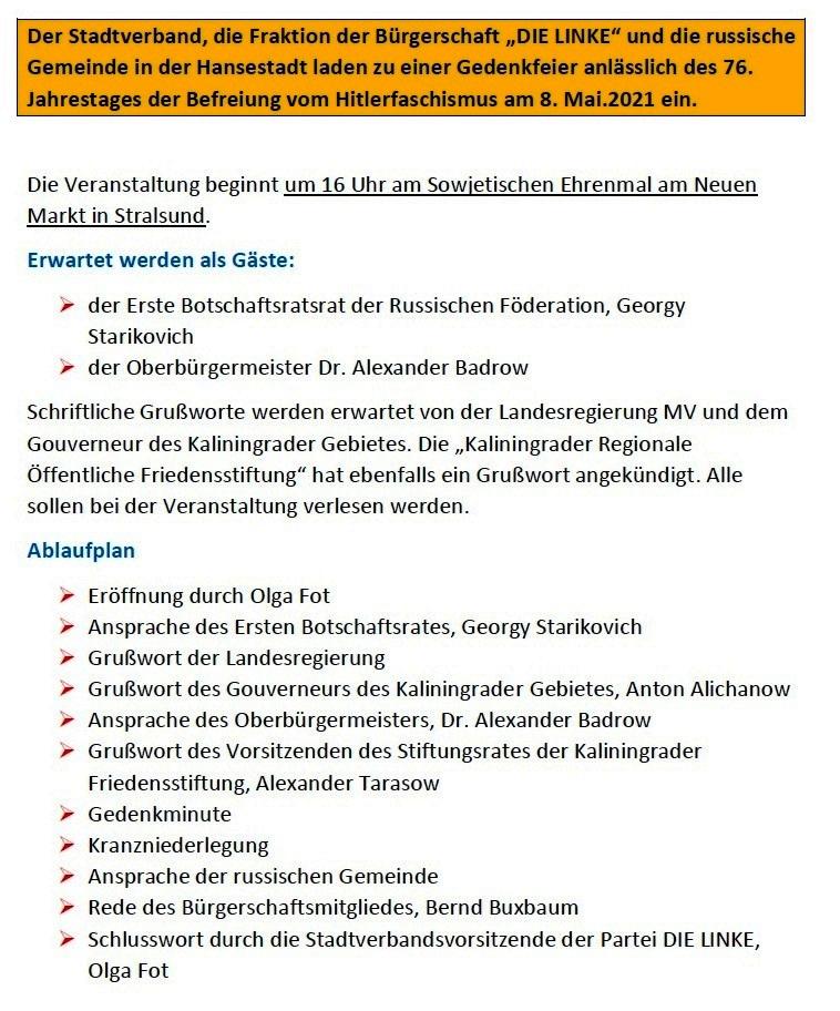 Einladung zur Veranstaltung am 8. Mai 2021 in Stralsund - Aus dem Posteingang von Siegfried Dienel vom 05.05.2021