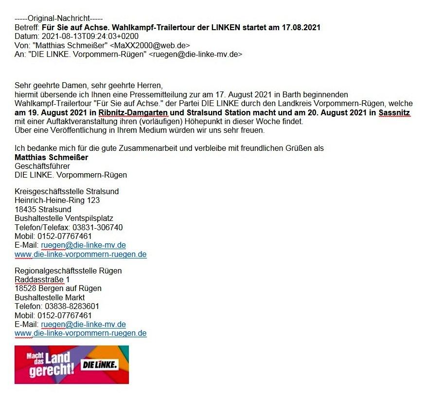 Für Sie auf Achse. Wahlkampf-Trailertour der Linken startet am 17.08.2021 - Email DIE LINKE Vorpommern-Rügen vom 13.08.2021 - Aus dem Posteingang vom 13.08.2021