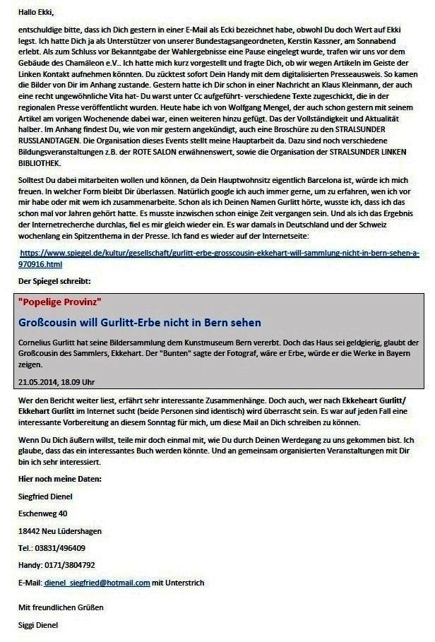 Kontaktaufnahme nach der gestrigen Wahlveranstaltung DER LINKEN - E-Mail an Ekki Gurlitt am 18.04.2021 - Aus dem Posteingang von Siegfried Dienel vom 19.04.2021