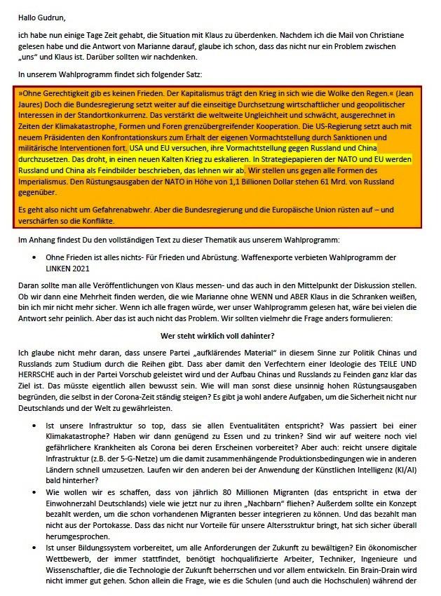 E-Mail an Gudrun - Aus dem Posteingang von Siefried Dienel vom 03.08.2021 -  Abschnitt 1