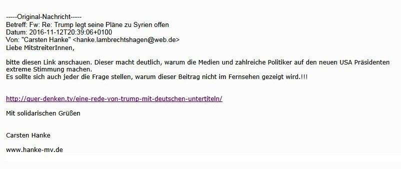 Aus dem Posteingang an Ostsee-Rundschau.de - Emailpost von Carsten Hanke