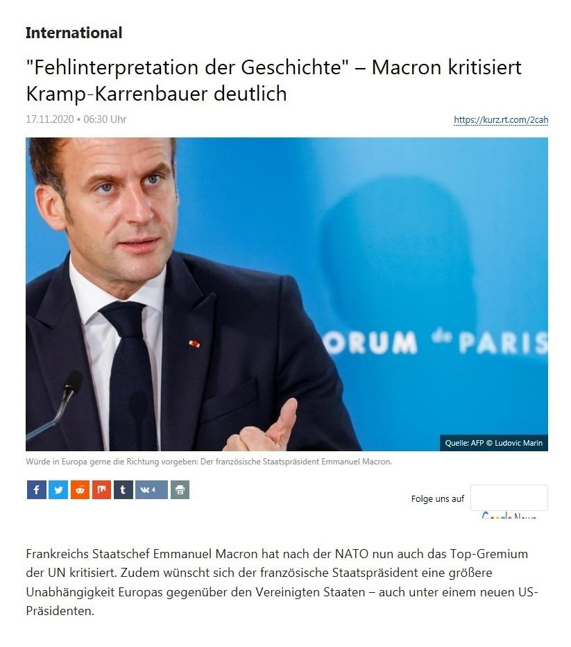 International - 'Fehlinterpretation der Geschichte' – Macron kritisiert Kramp-Karrenbauer deutlich  - RT Deutsch - 17.11.2020