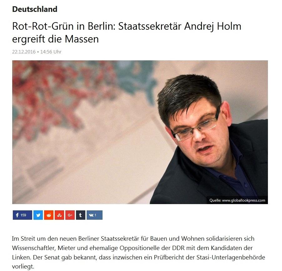 Entlassungsskandal - Rot-Rot-Grün in Berlin: Staatssekretär Andrej Holm ergreift die Massen