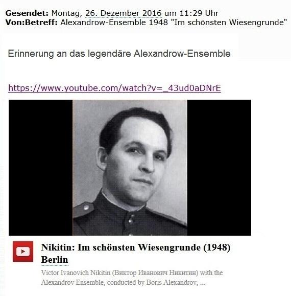Staatstrauer in Russland - Erinnerung an das legendäre Alexandrow-Ensemble - Viktor Nikitin - Im schönsten Wiesengrunde (1948) Berlin