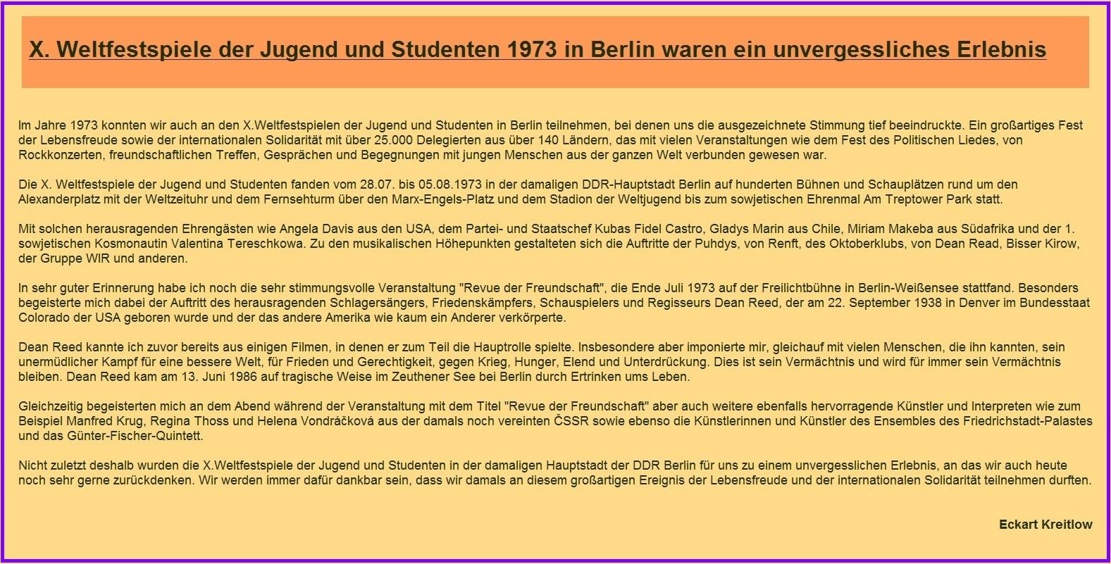 Erinnerungen an die X. Weltfestspiele der Jugend und Studenten 1973 in der damaligen Hauptstadt der DDR Berlin - DDR-Erinnerungen - Ostsee-Rundschau.de - Neue Unabhängige Onlinezeitungen (NUOZ)