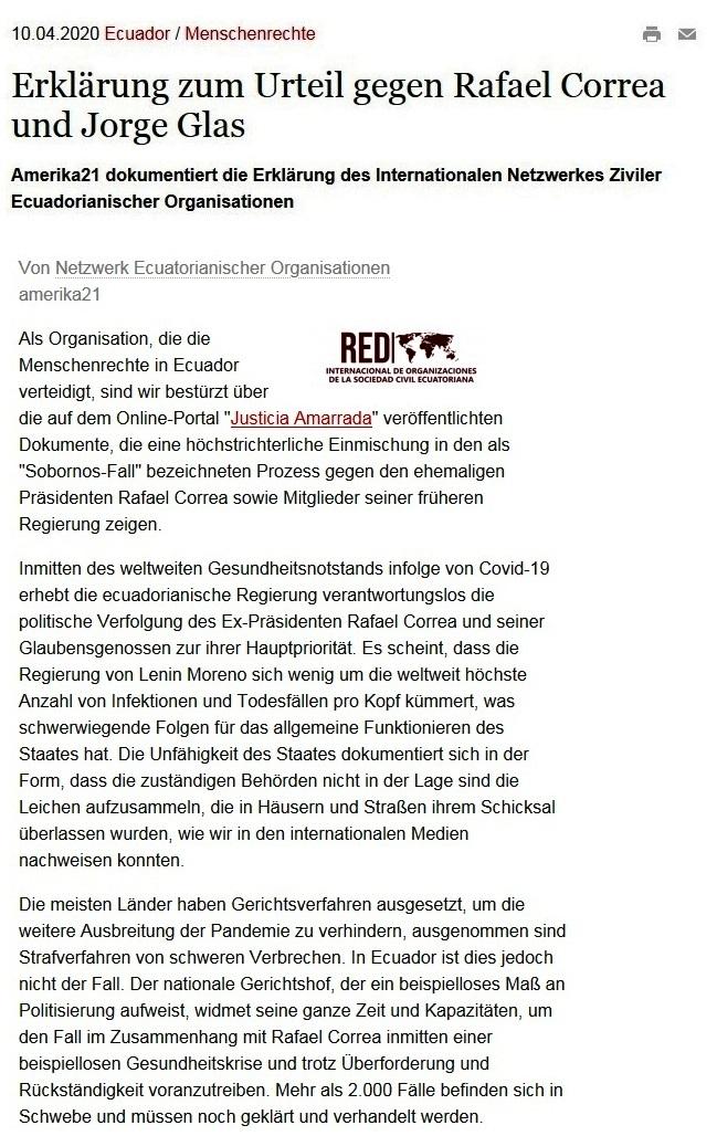 Erklärung zum Urteil gegen Rafael Correa und Jorge Glas  - amerika21 - Nachrichten und Analysen aus Lateinamerika - 10.04.2020