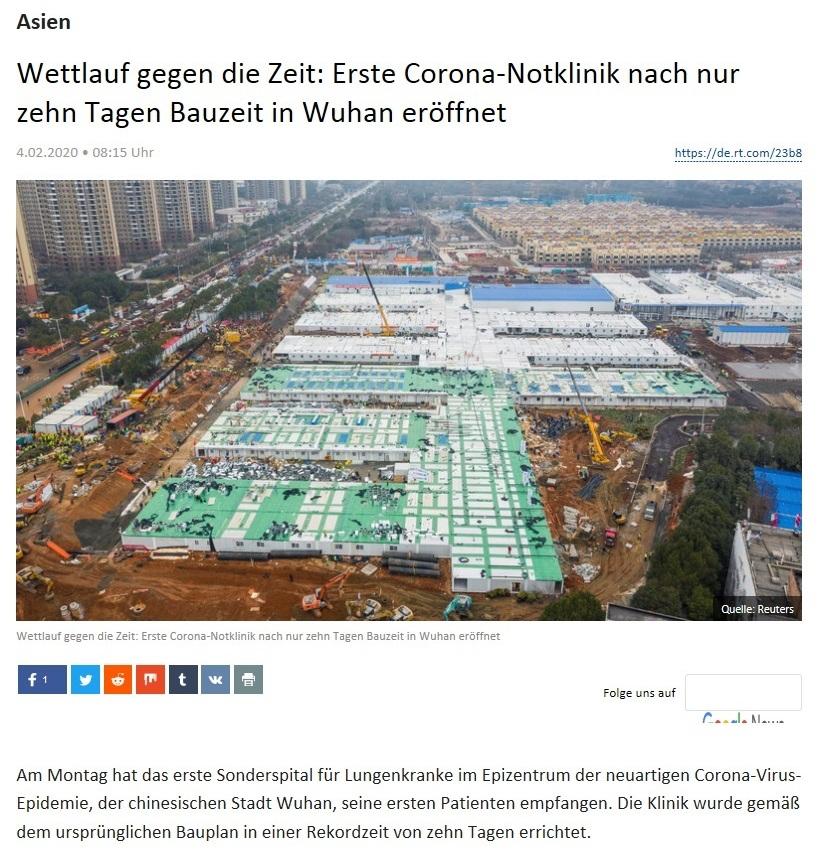 Asien - Wettlauf gegen die Zeit: Erste Corona-Notklinik nach nur zehn Tagen Bauzeit in Wuhan eröffnet