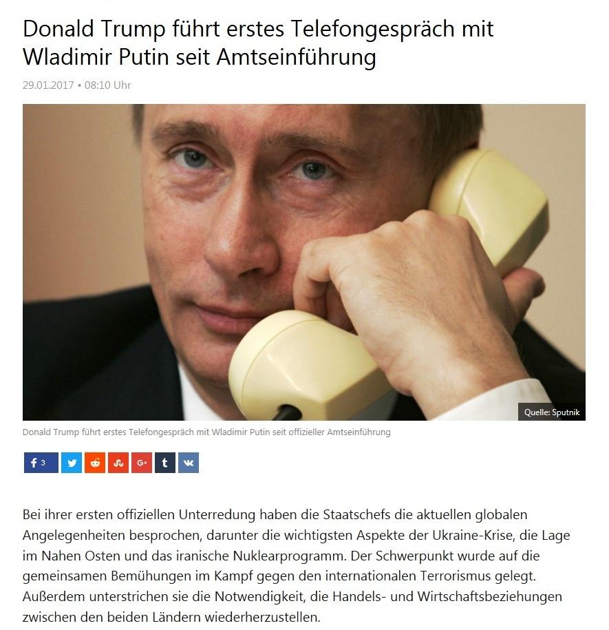 Entspannt sich die Lage nach Donald Trumps Amtsantritt zwischen den USA und Russland wieder? - Donald Trump führt erstes Telefongespräch mit Wladimir Putin seit Amtseinführung