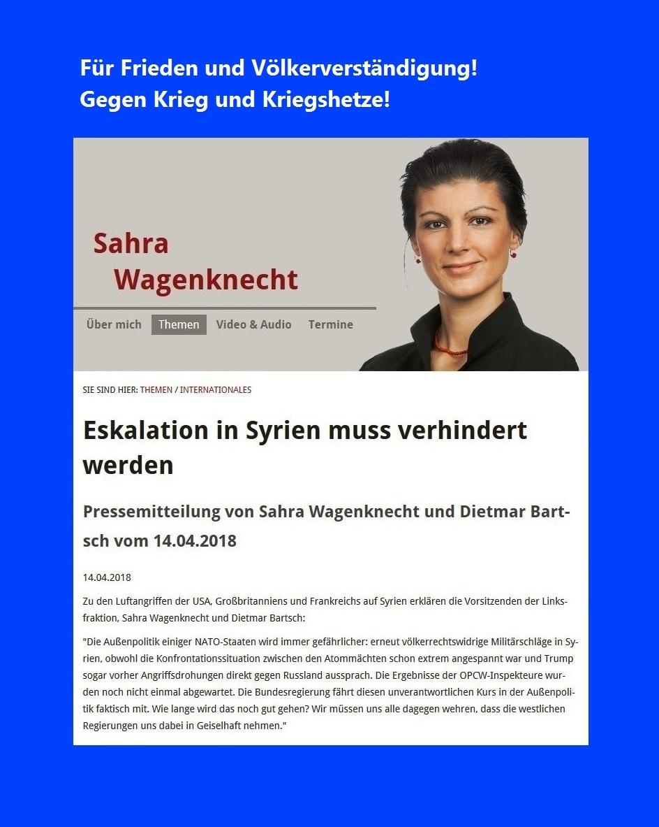 Eskalation in Syrien muss verhindert werden - Pressemitteilung von Sahra Wagenknecht und Dietmar Bartsch vom 14.04.2018