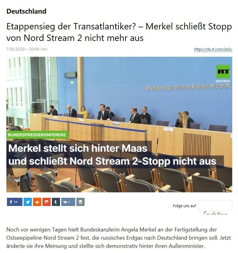 Deutschland - Etappensieg der Transatlantiker? – Merkel schließt Stopp von Nord Stream 2 nicht mehr aus - RT Deutsch - 07.09.2020
