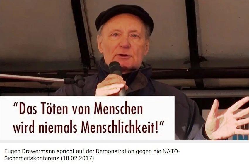 Eugen Drewermann spricht auf der Demonstration gegen die NATO-Sicherheitskonferenz (18.02.2017) - Das Töten von Menschen wird niemals Menschlichkeit