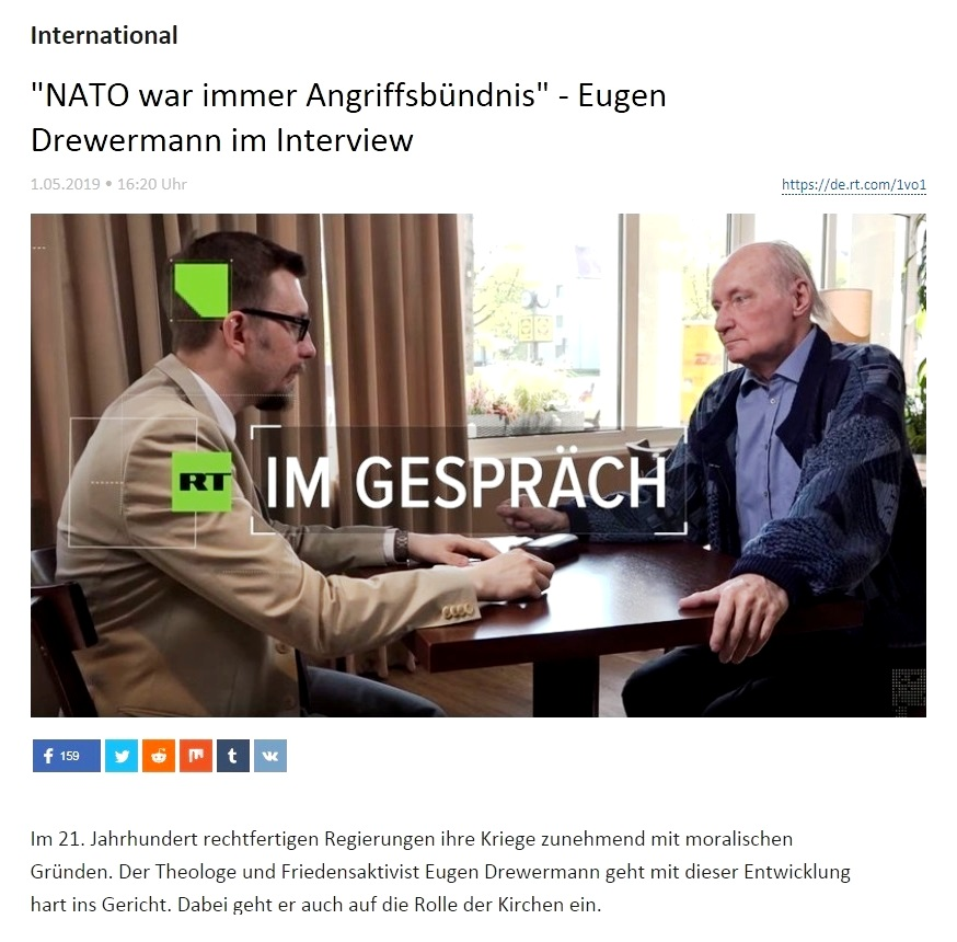 International - 'NATO war immer Angriffsbündnis' - Eugen Drewermann im Interview