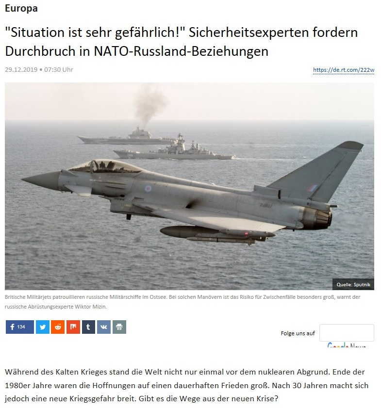 Europa - 'Situation ist sehr gefährlich!' Sicherheitsexperten fordern Durchbruch in NATO-Russland-Beziehungen