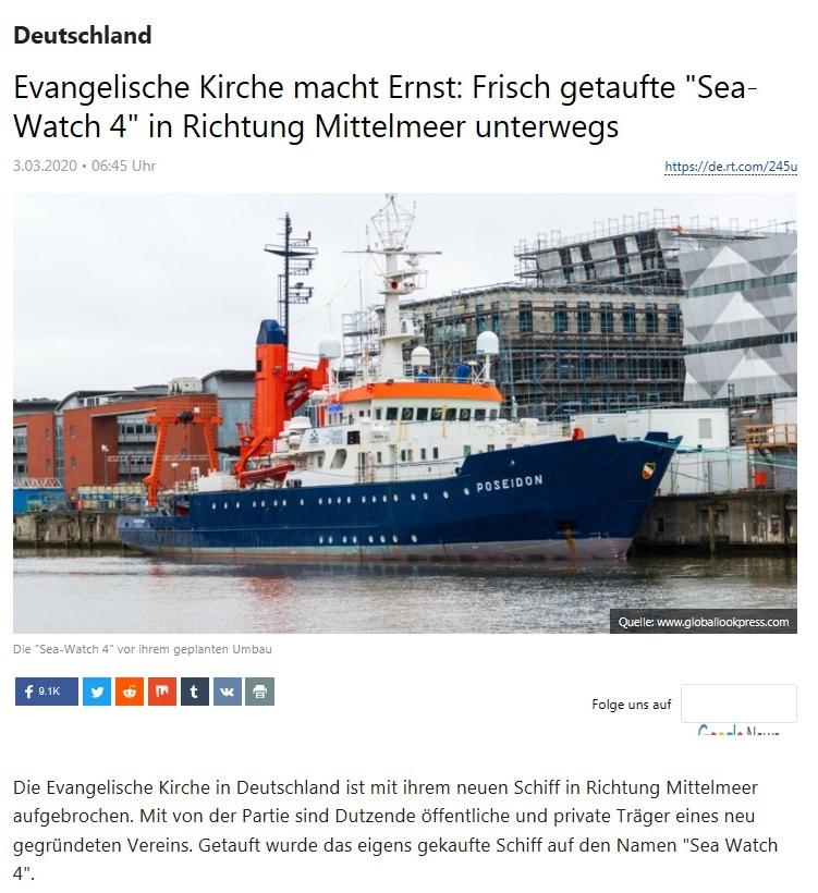 Deutschland - Evangelische Kirche macht Ernst: Frisch getaufte 'Sea-Watch 4' in Richtung Mittelmeer unterwegs