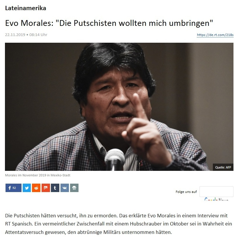 Evo Morales: 'Die Putschisten wollten mich umbringen'