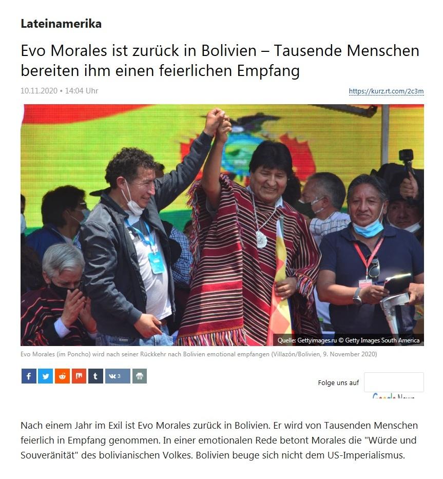 Lateinamerika - Evo Morales ist zurück in Bolivien – Tausende Menschen bereiten ihm einen feierlichen Empfang - RT Deutsch - 10.11.2020