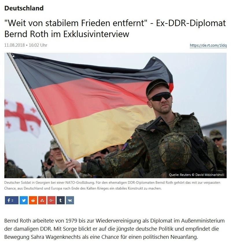Deutschland - 'Weit von stabilem Frieden entfernt' - Ex-DDR-Diplomat Bernd Roth im Exklusivinterview