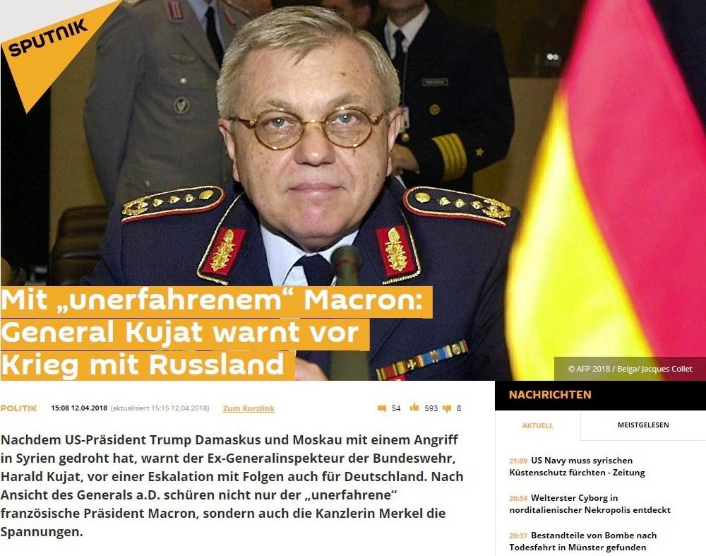 Sputnik Deutschland - Mit 'unerfahrenem' Macron: General Kujat warnt vor Krieg mit Russland