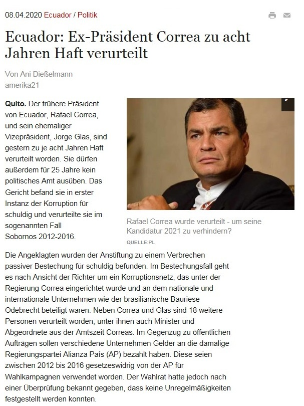 Ecuador: Ex-Präsident Correa zu acht Jahren Haft verurteilt  - amerika21 - Nachrichten und Analysen aus Lateinamerika - 7.04.2020