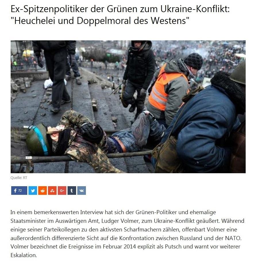 Ex-Spitzenpolitiker der Grünen zum Ukraine-Konflikt: Heuchelei und Doppelmoral des Westens
