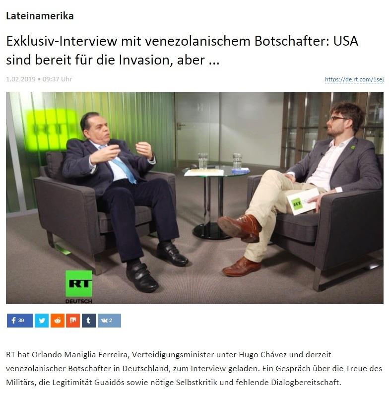 Lateinamerika - Exklusiv-Interview mit venezolanischem Botschafter: USA sind bereit für die Invasion, aber ...