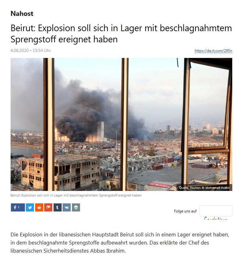 Nahost - Beirut: Explosion soll sich in Lager mit beschlagnahmtem Sprengstoff ereignet haben - RT Deutsch - 04.08.2020