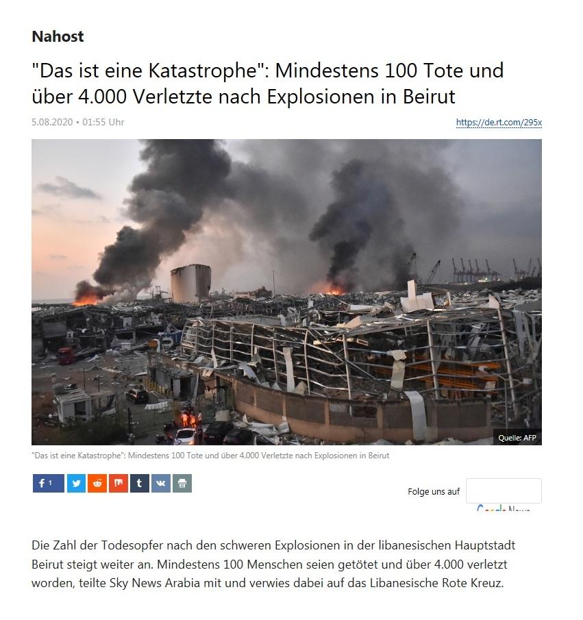 Nahost - 'Das ist eine Katastrophe': Mindestens 100 Tote und über 4.000 Verletzte nach Explosionen in Beirut - RT Deutsch - 05.08.2020